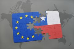 Puzzle with the national flag of chile and european union on a world map Stock Images