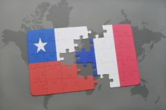 Puzzle with the national flag of chile and france on a world map background. 3D illustration Stock Photography