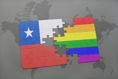 Puzzle with the national flag of chile and gay rainbow flag on a world map background. 3D illustration Stock Photos