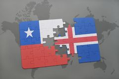 Puzzle with the national flag of chile and iceland on a world map background. Stock Images