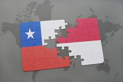 Puzzle with the national flag of chile and indonesia on a world map background. 3D illustration Royalty Free Stock Photos