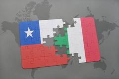 Puzzle with the national flag of chile and italy on a world map background. 3D illustration Stock Photos