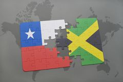 Puzzle with the national flag of chile and jamaica on a world map background. 3D illustration stock image