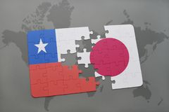 Puzzle with the national flag of chile and japan on a world map background. 3D illustration stock photos