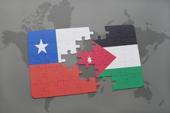Puzzle with the national flag of chile and jordan on a world map background. Royalty Free Stock Photography