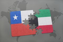 Puzzle with the national flag of chile and kuwait on a world map background. Royalty Free Stock Images