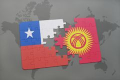 Puzzle with the national flag of chile and kyrgyzstan on a world map background. 3D illustration Royalty Free Stock Images