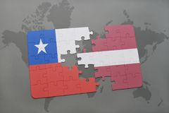 Puzzle with the national flag of chile and latvia on a world map background. Stock Image