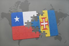 Puzzle with the national flag of chile and madeira on a world map background. 3D illustration Royalty Free Stock Image