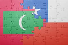 Puzzle with the national flag of chile and maldives Stock Photography