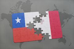 Puzzle with the national flag of chile and malta on a world map background. Stock Photos
