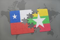 Puzzle with the national flag of chile and myanmar on a world map background. 3D illustration Stock Photography
