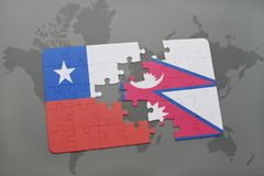Puzzle with the national flag of chile and nepal on a world map background. Royalty Free Stock Image