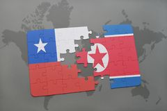 Puzzle with the national flag of chile and north korea on a world map background. 3D illustration Stock Image