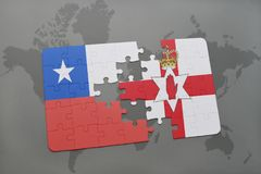 Puzzle with the national flag of chile and northern ireland on a world map background. Stock Image