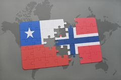 Puzzle with the national flag of chile and norway on a world map background. Stock Image
