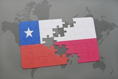 Puzzle with the national flag of chile and poland on a world map background. 3D illustration stock photo