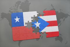 Puzzle with the national flag of chile and puerto rico on a world map background. 3D illustration Royalty Free Stock Image