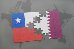 Puzzle with the national flag of chile and qatar on a world map background. Stock Image