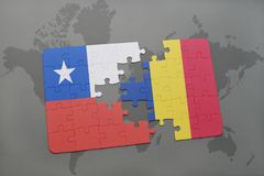 Puzzle with the national flag of chile and romania on a world map background. Stock Photography