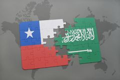 Puzzle with the national flag of chile and saudi arabia on a world map background. 3D illustration Stock Photo