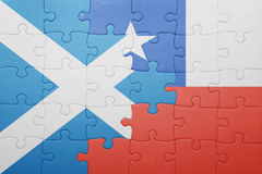 Puzzle with the national flag of chile and scotland. Concept stock photo