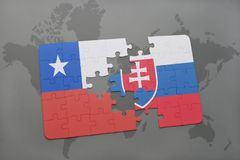 Puzzle with the national flag of chile and slovakia on a world map background. Royalty Free Stock Photography