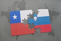 Puzzle with the national flag of chile and slovenia on a world map background. 3D illustration Stock Photo