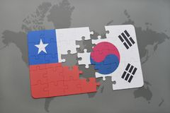 Puzzle with the national flag of chile and south korea on a world map background. 3D illustration stock photography