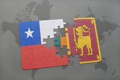 Puzzle with the national flag of chile and sri lanka on a world map background. Royalty Free Stock Images