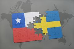 Puzzle with the national flag of chile and sweden on a world map background. Stock Photo