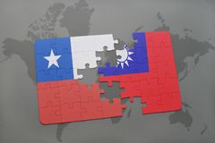 Puzzle with the national flag of chile and taiwan on a world map background. 3D illustration Royalty Free Stock Photography