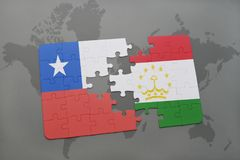 Puzzle with the national flag of chile and tajikistan on a world map background. 3D illustration Royalty Free Stock Photos