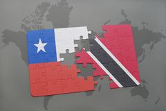 Puzzle with the national flag of chile and trinidad and tobago on a world map background. 3D illustration Stock Photos