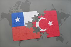 Puzzle with the national flag of chile and turkey on a world map background. 3D illustration stock photos