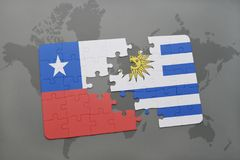 Puzzle with the national flag of chile and uruguay on a world map background. 3D illustration Royalty Free Stock Photography