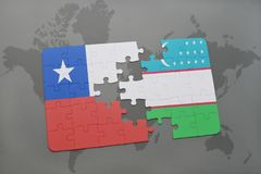 Puzzle with the national flag of chile and uzbekistan on a world map background. Stock Photo