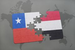 Puzzle with the national flag of chile and yemen on a world map background. 3D illustration Stock Images