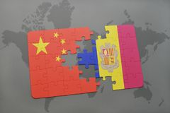 Puzzle with the national flag of china and andorra on a world map background. 3D illustration royalty free stock photo