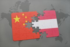 Puzzle with the national flag of china and austria on a world map background. 3D illustration Royalty Free Stock Images
