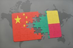Puzzle with the national flag of china and benin on a world map background. 3D illustration Stock Photos
