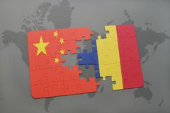 Puzzle with the national flag of china and chad on a world map background. 3D illustration Royalty Free Stock Image