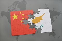 Puzzle with the national flag of china and cyprus on a world map background. 3D illustration stock photo
