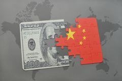 puzzle with the national flag of china and dollar banknote on a world map background. royalty free illustration
