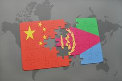 Puzzle with the national flag of china and eritrea on a world map background. 3D illustration Royalty Free Stock Photos