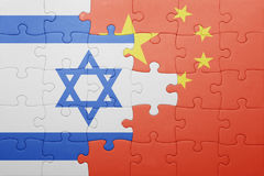 Puzzle with the national flag of china and israel. Concept Stock Photos