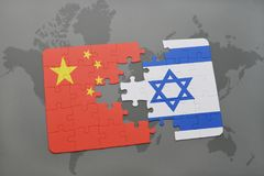 Puzzle with the national flag of china and israel on a world map background. 3D illustration stock photos