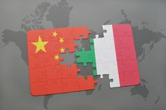 Puzzle with the national flag of china and italy on a world map background. 3D illustration Stock Image