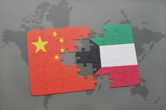 Puzzle with the national flag of china and kuwait on a world map background. 3D illustration Stock Image
