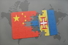 Puzzle with the national flag of china and madeira on a world map background. 3D illustration royalty free stock photo
